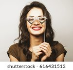 party image. playful young... | Shutterstock . vector #616431512