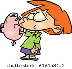 cartoon girl with hand stuck in ... | Shutterstock .eps vector #616458152