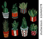 embroidery succulents  cactus... | Shutterstock .eps vector #616464278
