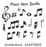 Stock vector set of music note doodle 616470605