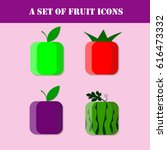 fruit icon set. the... | Shutterstock .eps vector #616473332