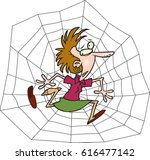 Cartoon Woman Caught In A Web