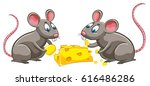 two rats eating cheese... | Shutterstock .eps vector #616486286