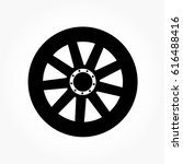 flat black wheel and tire with... | Shutterstock .eps vector #616488416
