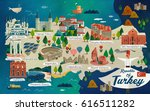 turkey travel map and turkish... | Shutterstock .eps vector #616511282