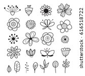 set of hand drawn flowers and... | Shutterstock .eps vector #616518722