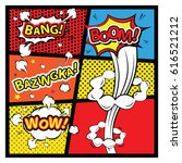 comics template. vector retro... | Shutterstock .eps vector #616521212