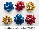 festive bows pattern on white... | Shutterstock . vector #616524818