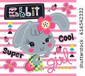 cartoon beautiful rabbit girl... | Shutterstock .eps vector #616542332