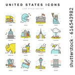 usa icons. travel to united... | Shutterstock .eps vector #616543982