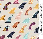 surfboard fin seamless pattern | Shutterstock .eps vector #616550552