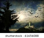 Mysterious dark scene with castle ruin, bats and big tree in moonlight - stock photo