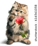 Stock photo kitty gives rose watercolor painting 616561058