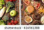 junk food or health food | Shutterstock . vector #616561388
