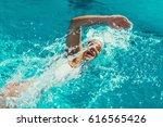 female swimmer on training in... | Shutterstock . vector #616565426