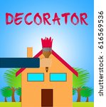 home decorator paintbrush means ... | Shutterstock . vector #616569536