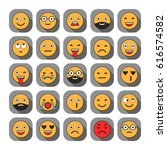 colored flat icons of emoticons.... | Shutterstock .eps vector #616574582