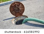 emptying septic tank  cleaning... | Shutterstock . vector #616581992