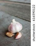 fresh young garlic from a home... | Shutterstock . vector #616590122