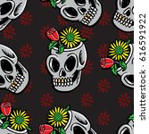 flower on the skull seamless... | Shutterstock .eps vector #616591922