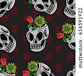 flower on the skull seamless... | Shutterstock .eps vector #616591922