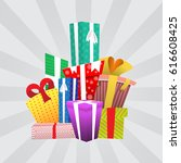 big pile of colorful wrapped... | Shutterstock . vector #616608425
