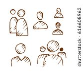 hand drawn people icons set.... | Shutterstock .eps vector #616608962