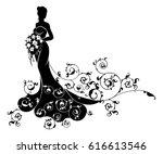 wedding bride wife in... | Shutterstock .eps vector #616613546