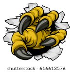 a cartoon eagle bird claw... | Shutterstock .eps vector #616613576