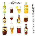 set of different drinks. cola ... | Shutterstock .eps vector #616620176