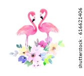couple pink flamingos and...   Shutterstock . vector #616621406