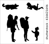 Stock vector family tourists with backpacks girl playing with dog silhouette vector 616621646