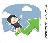 businesswoman riding graph...   Shutterstock .eps vector #616625366