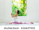 women exercise with yoga in the ... | Shutterstock . vector #616637432
