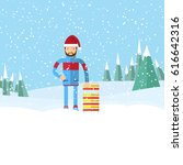 man in a santa hat holding a... | Shutterstock . vector #616642316