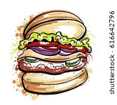burger with splashes in... | Shutterstock .eps vector #616642796
