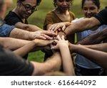 group of diversity people hands ... | Shutterstock . vector #616644092