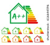energy efficiency label house.... | Shutterstock .eps vector #616644596