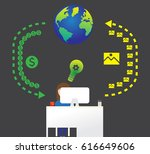 visual turnover of money on the ... | Shutterstock . vector #616649606