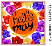 lettering hellow may. sun... | Shutterstock .eps vector #616654736