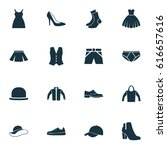dress icons set. collection of... | Shutterstock .eps vector #616657616