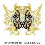 grunge mystic butterfly. tribal ... | Shutterstock .eps vector #616658732