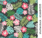 hibiscus and tropical leaf... | Shutterstock .eps vector #616684535