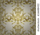 pattern with golden elements on ... | Shutterstock .eps vector #616688432