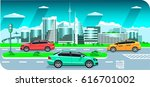 city street  skyline   car... | Shutterstock .eps vector #616701002