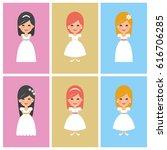 set of first communion girls....   Shutterstock .eps vector #616706285