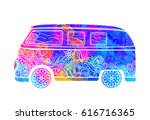 hippie vintage car a mini van... | Shutterstock .eps vector #616716365