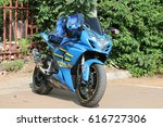 Small photo of Rustenburg, South Africa - March 3, 2017: Parked blue 1000cc motorbike at Yearly Mass Ride of Tainted Souls Motorbike Club, Rustenburg, South Africa.