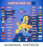 vector map of european union ... | Shutterstock .eps vector #616733126