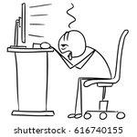 cartoon vector doodle stick man ... | Shutterstock .eps vector #616740155